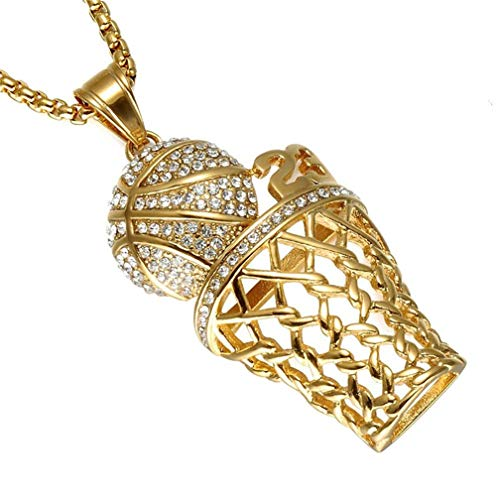 XBYN Männer Edelstahl Hip Hop CZ Diamant Mini Basketball Rim hängende Halskette 24 Zoll Kette