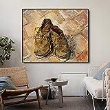 BONAUP Stampa su Tela Poster Scarpe in Pelle di Vincent Van Gogh Poster e Stampa su Tela Calligrafia Quadri murali per Soggiorno Decorazioni per la Camera da Letto