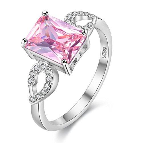 Uloveido Ziemlich Emerald Cut Lab Erstellt Rechteck Rosa Topas Geburt Stein Ring Silber Farbe Unendlichkeit Kristall Aniversary Versprechen Ringe für Frauen Größe 59 (18.8) Y3040