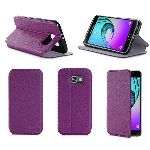 XEPTIO Porpora Custodia Pelle Ultra Slim per Samsung Galaxy A5 2016 SM-A510/SM-A510F 4G Smartphone - Flip Case Funda Cover Protettiva Galaxy A5 2016 (PU Pelle - Purple Violet) Accessori