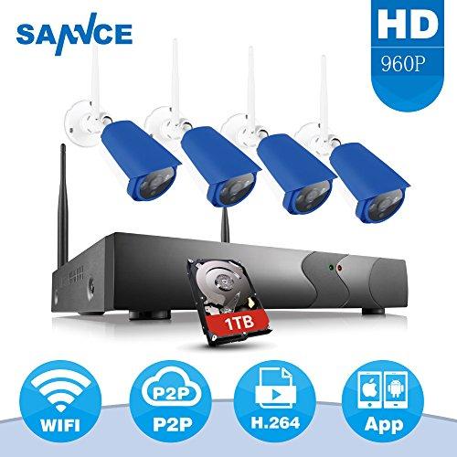SANNCE Kit Videosorveglianza wifi NVR 1080P 4 Canali 4 Wireless Camera IP 960P Videocamera Sorveglianza Kit Sorveglianza Wireless H.264 P2P Avviso E-mail Dual Stream Manuale Italiano 1TB HDD (Bianco e Blu)