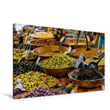 Calvendo Premium Textil-Leinwand 120 cm x 80 cm Quer, Oliven und Tapenaden | Wandbild, Bild auf Keilrahmen, Fertigbild auf Echter Leinwand, Leinwanddruck Orte Orte