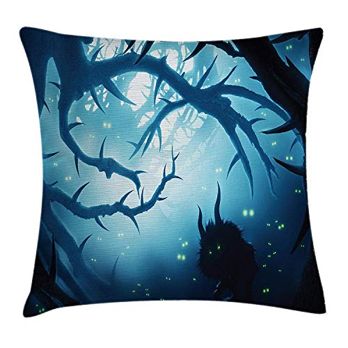 Mystic Throw Pillow Cushion Cover, Animal with Burning Eyes in The Dark Forest at Night Horror Halloween Illustration, Decorative Square Accent Pillow Case, Navy White24 (16 Horror Sweet Halloween Nights)