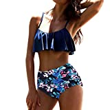 Beikoard Bademode Bikini Set, Damen Badebekleidung Geometrisch Netz Garn Bikini Set Bandage Push-up Gepolstert Badeanzug Feste Farbe Badestrand Bademode (Blau, M)