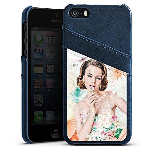 Apple iPhone 5s Housse Étui Protection Coque Lena Hoschek Spring Summer Femme Femme Étui en cuir bleu marine
