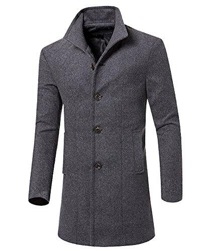 Uomo classico sottile giacca trench caloroso cappotto invernale cappotto di lana grigio s