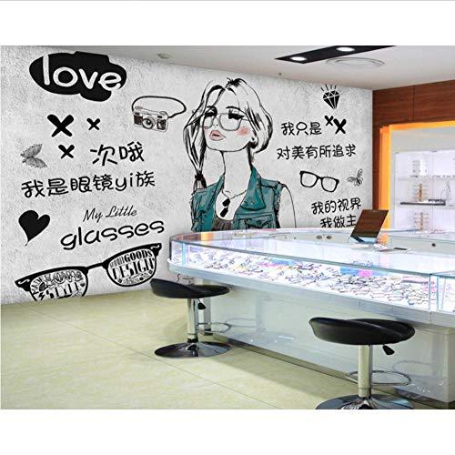 Hintergrundbild Persönlichkeit Werkzeug Brillen Shop Mode Schönheit Bild Tapeten Wandbilder Optische Shop 3D Fototapete,200X140Cm Fasergewebe