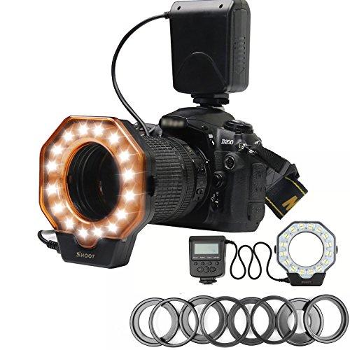 D&F Makro LED Ringblitz für Canon, Nikon, Olympus, Pentax Spiegelreflexkameras, Digitalkameraobjektiv mit Blitzschuh (passend für 40,5, 52, 55, 58, 62, 67, 72, 77 mm Objektive)(passend für 40,5, 52, 55, 58, 62, 67, 72, 77 mm Objektive)