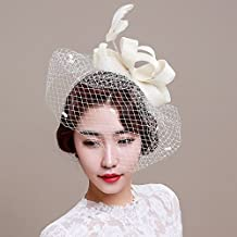 Veewon Ladies elegante pluma tocado pelo Clip Hat boda cóctel malla neto velo diadema