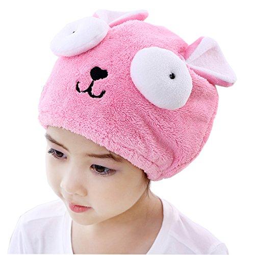 Lustig Kinder Haartrockentuch Kopfhandtuch Polyester Mikrofaser Kopftuch Haarturban Weiche Schnell Trocken Haar Handtuch von FakeFace, Pink