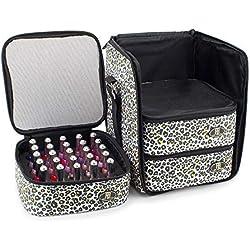 Roo Beauty - Esmalte de uñas, bolsa de almacenamiento de manicura, neceser de maquillaje en leopardo de nieve