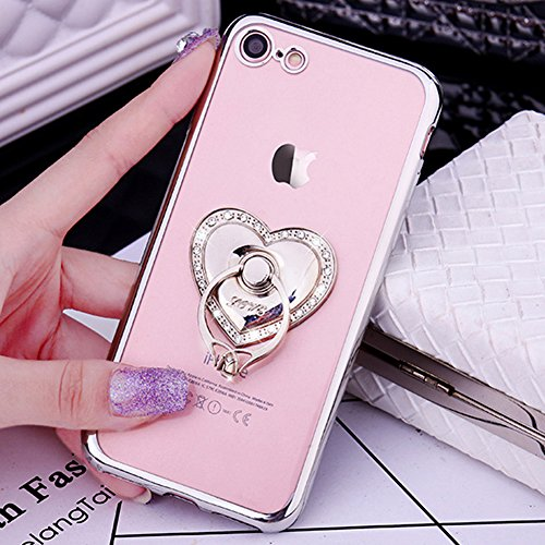 Custodia iPhone 5S Glitter, iPhone SE Cover Silicone, SainCat Cover per iPhone 5/5S/SE Custodia Silicone Morbido, Custodia Bling Glitter Strass Diamante 3D Design Ultra Slim Trasparente Silicone Case  Argento #1