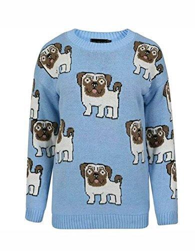 haute pour DIVA ' Dames S pour femme manches longues tricot épais Mignon Chien Carlin IMPRIMé pull taille S-L Bleu
