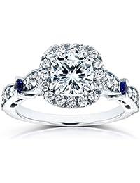 Para Siempre Brillante Moissanite Diamond y Sapphire anillo de compromiso 15/8quilates (de quilate) en 14K oro blanco _ 4,5
