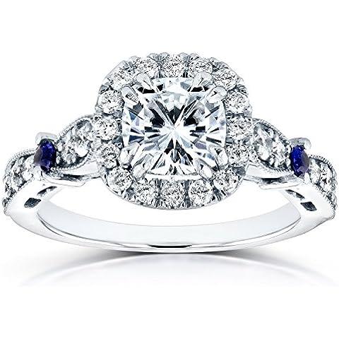 Forever Brilliant Moissanite anello di fidanzamento con zaffiro e diamante 15/8K (ctw) in oro bianco 14K _ 7.0 - Moissanite Diamante Zaffiro