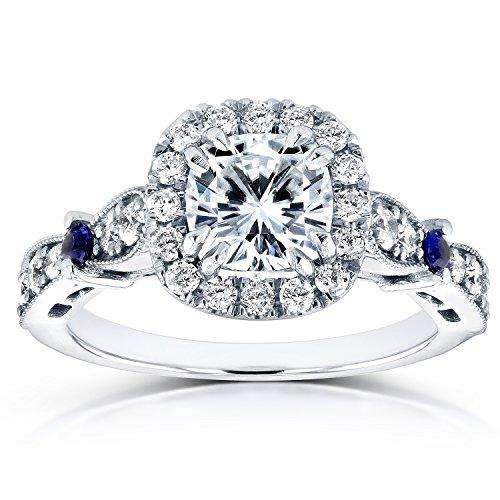 Forever Brilliant Moissanite anello di fidanzamento con zaffiro e diamante 15/8K (ctw) in oro bianco 14K _ 6 - Moissanite Diamante Zaffiro