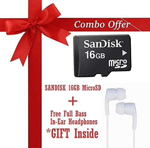 SanDisk 16GB CLASS 10 MicroSDHC MEMORY CARD (SDSDQM-016G-B35) + Veera Tech - In Ear Headphone For Samsung, Redmi, Motorola, Apple, Oppo, Vivo In The Earphone / Headphone / Handfree / Headset With Mic / 3.5Mm Jack - White  available at amazon for Rs.649