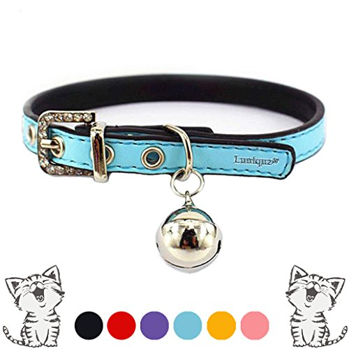 "Leather Cat Collars with Bell Safety Buckle Soft and Adjustable for Girls Kitty, Puppy, Small Dogs Fit 7""-9"" /Blue"