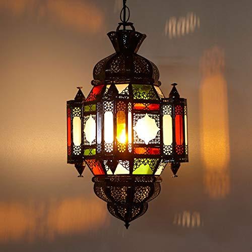 Milchglas Pendelleuchte (Marokkanische Lampe orientalische Hängelampe Moula Multi Höhe 60 cm Ø 26 cm aus Metall & Milchglas | Kunsthandwerk aus Marrakesch | Prachtvolle Pendelleuchte wie aus 1001 Nacht | L1742)