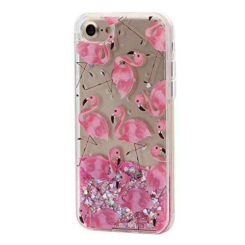 Cover Liquido per Apple iPhone 7 / 8 Plus , Keyihan Ragazza Donna Custodia Rosa Style Divertenti Brillantini Glitter Bling Liquid Flowing Case in Plastica Rigida e Silicone Morbido (Palloncino) Fenicottero 3#