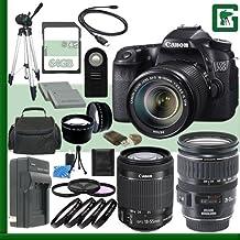 Juego de cámara réflex digital Canon EOS 70d con 18–135mm IS STM lente y Canon EF-M 18–55mm STM lente y Canon 28–135mm lente + 64GB verde de la cámara paquete 2