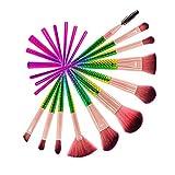 Makeup Pinsel Set 11tlg. Professionelle Schmale Taille Pinsel Bunte Kosmetikpinsel Pinselset für Berufsverfassungs oder Ausgangsgebrauch mit Schwarz PU-Leder Tasche