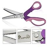 Dentar tijeras, P.LOTOR 9,3 pulgadas mango profesional inoxidable robar Confección costura artesanal tijeras (púrpura serrada)