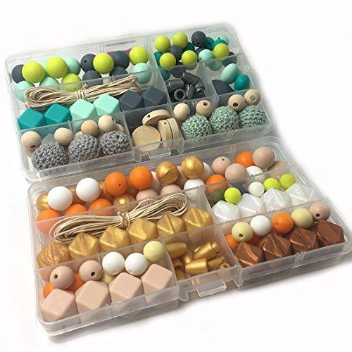Coskiss DIY Krankenpflege Halskette Kit 2 Boxed Mixed Farbe Geometrie Hexagon Silikon Perlen Herzförmige Silikon Runde Silikon Perlen Hölzerne Häkeln Perlen Schnuller Clip Baby Teether Spielzeug (A123+A124)