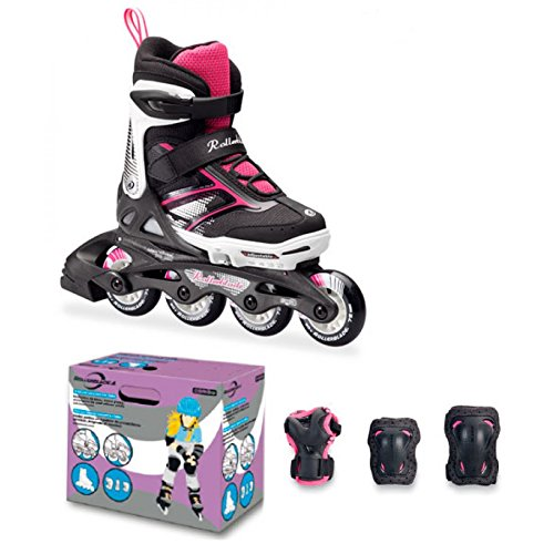 rollerblade-roller-enfant-protections-spitfire-combo-girl-16-noir-rose-28-32