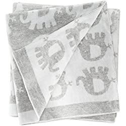 Fillikid Manta para bebé Elefantes 100x75 cm / Arrullo / Mantita de punto para minicuna, cochecito y silla de paseo / 100% algodón, muy suave, reversible, lavable a 30°C - Gris