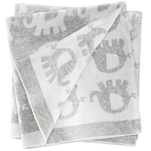 Babydecke Elefanten 75 x 100 cm - Kuscheldecke für Kinderwagen, Buggy & Zuhause | Krabbeldecke aus 100% Baumwolle - sehr weich, maschinenwaschbar - Grau