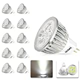 Pack of 10 x 4W AC/DC 12V GU5.3 MR16 LED Light Bulbs Non-dimmable, Spotlight,Cool White, 7000k,(300Lumen,30Watt Equivalent) 60 Degree Beam angle