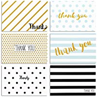 Juvale Thank You Cards (48-Pack) - Thank You Card Variety Pack - 6 Retro Designs - Blank on the Inside, Envelopes Included - 10 x 15 Centimetres