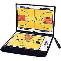 tanchen plegable Baloncesto Fútbol entrenador Junta placa libro juego con pluma Clip de enseñanza Coaching portapapeles, Amarillo