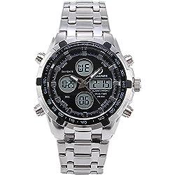 QUAMER 205 Quartz Sport Muti-Functional Wrist Watch with Analog&Digital Time Display (Silver+Black)