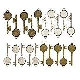 YXJD 20 Set Schlüssel Anhänger Tablett mit Glas Cabochon Retro Glaskuppel Bastelset für DIY Souvenir Bild Medaillon Halskette Geschenk Schmuckherstellung in Silber/Bronze