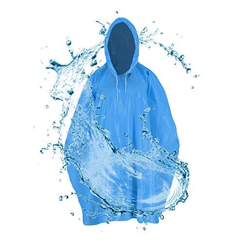 Regenponcho mit Kapuze für Erwachsene (1,60 bis 1,95m)-Reißfestes dickes Regencape, stabiler Regenumhang zum Angeln,Wandern,Campen-Outdoor Regenjacke, Fahrradponcho,Festivalponcho (Einweg blau)