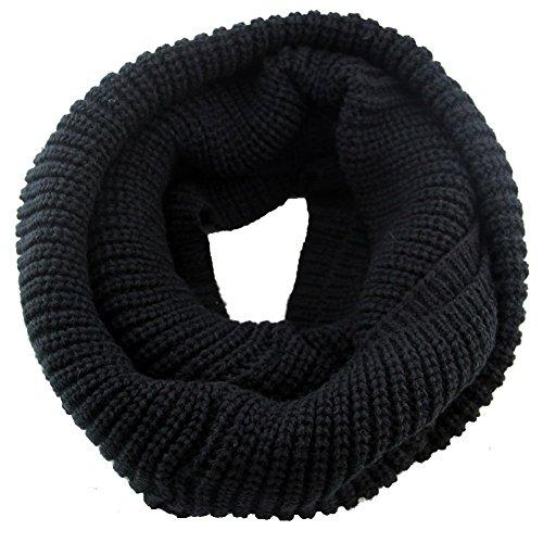 Fletion Femmes Hommes tricotage Echarpes en laine Chaude hiver épais tricoté écharpe Snood châle Circle Loop noir