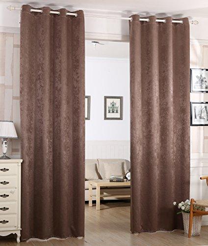 Woltu # 340–Cortina Cortina opaca, dkl cortina térmica con ojales, pesado Damasco cortina DKL cortina en Crushed Diseño, Shabby Chic Vintage, marrón, 135x245 cm