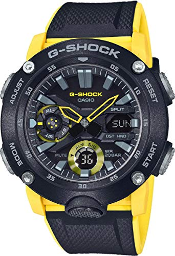 Casio G-SHOCK Reloj Analógico-Digital, Carbonífero, 20 BAR, Amarillo/Negro, para Hombre,...