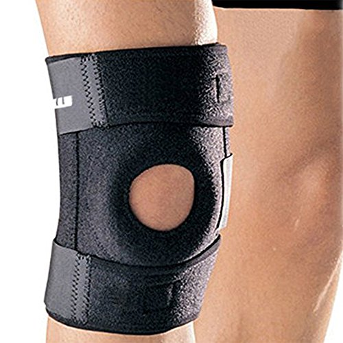 Ipow® Genouillère professionnelle, protection du genou parfait pour la course, marche, exercice physique, jusqu'à 16 pouces, Noir, 1 pièce