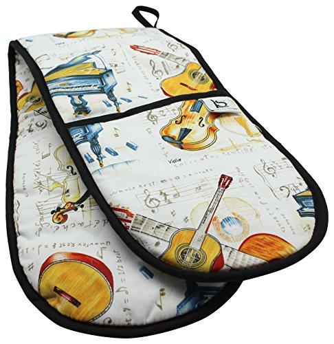 little-snoring-tarjetas-y-regalos-guante-doble-para-horno-diseo-de-instrumentos-de-clsica-multicolor