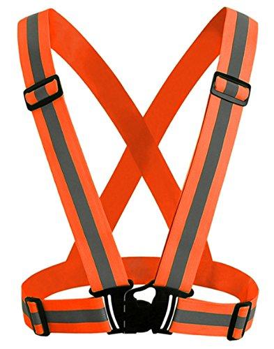Signalweste Sicherheitsweste neon verstellbar elastisch Hohe Sichtbarkeit Gürtel verstellbar Herren Damen Teenager Unisex für Fahrrad Motorrad Joggen zu Fuß Nachtleben Geschenk Einheitsgröße Orange