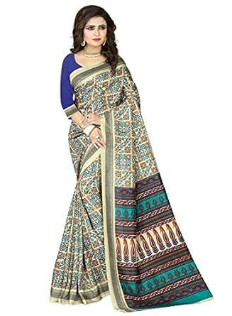 e-VASTRAM Womens Crepe Printed Art Silk Saree(V3103_Beige)