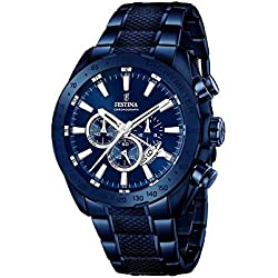Festina Men's Quartz Watch with Blue Dial Chronograph Display and Blue Stainless Steel Plated Bracelet F16887/1
