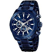 Festina F16887/1 - Reloj para hombre esfera cronográfica, correa de acero inoxidable, azul