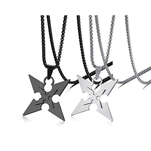 Vnox 2 Stück Herrenjacke Edelstahl Coole Dart Waffe 4 Arrow Charm Anhänger Halskette Punk Rock,freie (Ninja Coole Waffen)