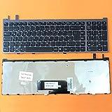 DEUTSCHE - Schwarz Tastatur Keyboard mit Grau Rahmen für Sony Vaio VGN-AW