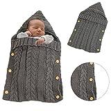 Baby Babyschlafsack gestrickte Swaddle-Decke, KeKeYM Infant Warme Wolle gestrickte Swaddling Wickelschlafsack - Dunkelgra