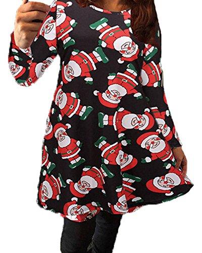 ZANZEA Femme Manches Longues Père Noël Robe Imprimé Swing Robe Noir
